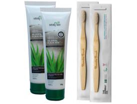 Kit 2 Creme Gel Dental de Aloe Vera 100% Vegano + 2 Escovas de Dente de Bambu