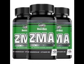 ZMA Zinco Magnésio Vitamina B6 120 caps - Kit com 3