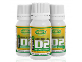 Vitamina D2 Ergocalciferol em Gotas Vegano 20ml Kit com 3