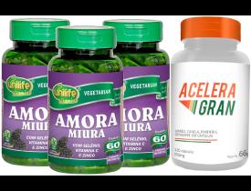 Amora Miura Selênio Vitamina C e Zinco Kit com 3 + Acelera Gran 120 cápsulas 550mg