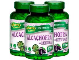 Alcachofra com Berinjela 60 cápsulas de 400mg Kit com 3