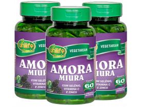 Amora Miura Selênio Vitamina C e Zinco 60 cápsulas de 500mg Kit com 3