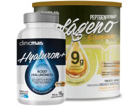 Kit com Colágeno Hidrolisado 9g Silício Orgânico Abacaxi e Hortelã 300g + Ácido Hialorônico 30 Caps 500 mg