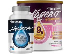 Kit com Colágeno Hidrolisado 9g Silício Orgânico Frutas Vermelhas 300g + Ácido Hialorônico 30 Caps 500 mg
