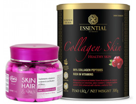 Kit Colágeno Skin Essential Nutrition + Skin Hair Nails Biotina e Silício