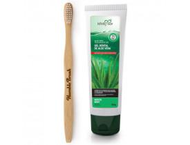 Kit Creme Dental de Aloe Vera com Extrato de Própolis + Escova de Dente de Bambu