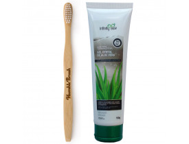 Kit Creme Gel Dental de Aloe Vera 100% Vegano + Escova de Dente de Bambu