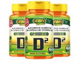 Vitamina D2 Ergocalciferol 60 cápsulas de 470mg kit com 3