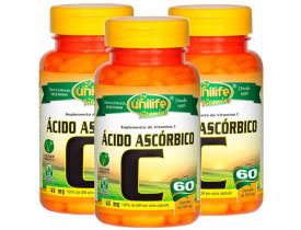 Vitamina C Ácido Ascórbico 60 cápsulas de 500mg Kit com 3
