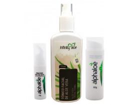 Kit Aloe Vera com Tônico Facial + Creme Concentrado + Creme Área dos Olhos