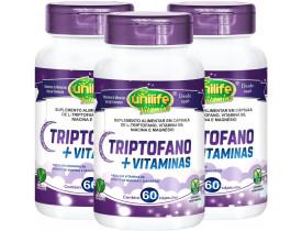 L-Triptofano + Vitaminas B6 Niacina Magnésio 60 cápsulas de 400mg Vegano Kit com 3