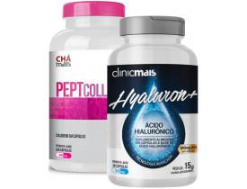 Kit com Ácido Hialurônico Hyaluron+ 30 cápsulas de 500mg + Colágeno PeptCollagen 100 Cáps