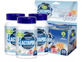 Lactapod Lactase Enzima Intolerância a Lactose 30 cáps de 450mg Kit com 3