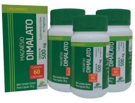 Magnésio Dimalato 60 cápsulas de 500mg Kit com 3