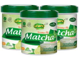 Matcha Chá Verde Termo Fit Solúvel 220g Kit com 3