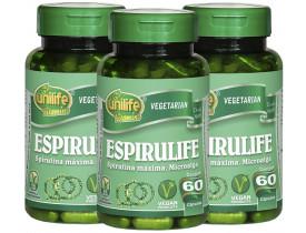 Spirulina Espirulife 60 cápsulas 500mg Kit com 3