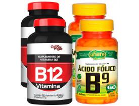 Vitamina B12 e Vitamina B9 Ácido Fólico Kit Especial com 4 Frascos