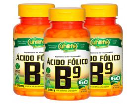 Vitamina B9 Ácido Fólico 60 cápsulas de 500mg Kit com 3