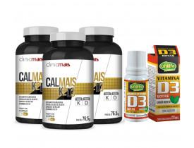 Vitamina K2 D3 Kit com 3 Frascos + Vitamina D3 Gotas 20ml