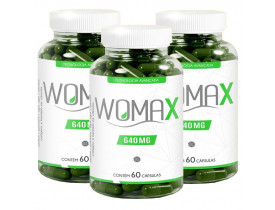 Womax Emagrecedor Quitosana e Colágeno 60 cápsulas 640mg Kit com 3